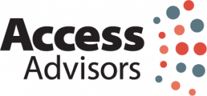 Access Advisors logo with grey and orange dots radiating out from the words