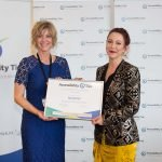 Tanya Colvin presenting the Ricoh NZ certificate to Vicky O'Neill