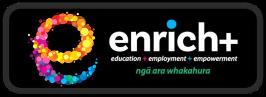 Enrich+ logo - education + employment + empowerment - nga ara whakahura