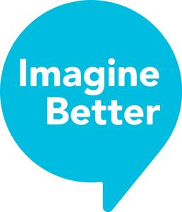 Imagine Better words in white inside a blue speech bubble