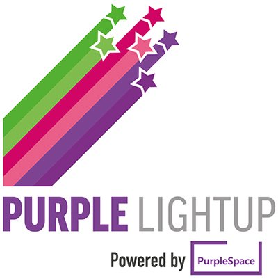 Purple Lightup logo with byline Powered by PurpleSpace