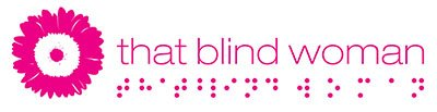 Pink flower logo for That Blind Woman. There is braille underneath that represents the same words.