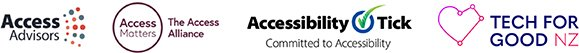 Logos of Access Advisors, Access Matters - The Access Alliance, Accessibility Tick - Committed to Accessibility and Tech for Good NZ.
